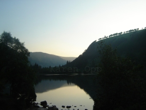 Camaderry & evening on the Lower Lake, Glendalough, Co. Wicklow, Ireland.